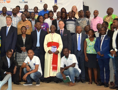 UNFPA Representative Mr. Alain Sibenaler (Fifth on first row) with H.E.  Henk Jan Bakker and Hon. Jane Ruth Aceng (first and second, same row) with  ...